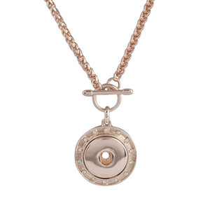 Wholesale 2018 Rose Gold Vintage Metal Snap Jewelry mm Snap button Necklace Pendant For Women KC1033