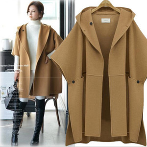 Wholesale cape shawls resale online - Fashion women winter hooded batwing sleeves woolen coat outerwear cloak ponchos cape coats temperament cloak shawl coat female