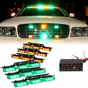 54 LED Car Truck Emergency Flash Strobe Lights Bar for Windshield Warning Deck Dash Grille (Green Yellow)