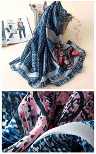 17 Silk scarf female spring and autumn long variety of shawl silk silk summer sunscreen beach print scarf dual-use
