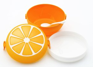 Wholesale Cute Orange Fruit Food Container PP Lunch Boxes Kids Bento Box with Spoon Microwave Lunchbox WB612