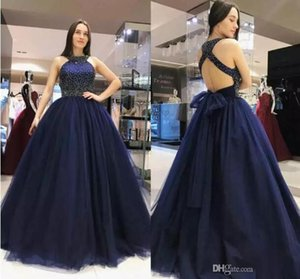 2019 Sexy Tulle Ball Gowns Evening Dresses Jewel Neck Sleeveless Sexy Backless Charming Prom Gowns Formal Wear Party Dresses on Sale