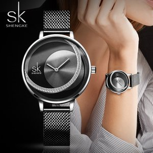 Wholesale HENGKE Brand Women Watch Creative Rhinestone Cool Black Stainless Quartz Watches Lady SHENGKE Brand Women Watch Creative Rhinestone Cool