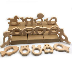 DIY Baby Teether Toys Set 15pcs Organic Natural Beech Wooden Toy Hand Cut Animal Baby Wooden Teether Make Baby Smart