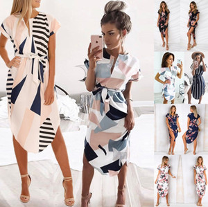 Wholesale Short sleeve V neck fashion women summer skirts striped grid floral printed girls Bohemia Stylish dress hot sale