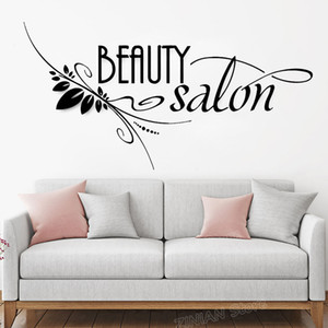 Wholesale Beauty Salon Sign Vinyl Wall Stickers Spa Barbershop Hair Stylist Wall Decal Window Wall Decor Creative Poster Wallpaper