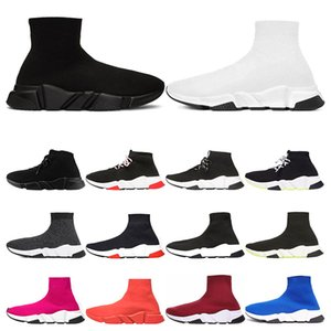 Wholesale 2020 Designer Shoes Casual of triple Speed Trainer bule black white red Flat Fashion mens womens Socks Sneakers fashion Platform size