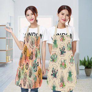 Wholesale cotton linen cactus pattern kitchen aprons cute sleeveless adjustable unisex cooking cleaning aprons dining room restaurant accessories