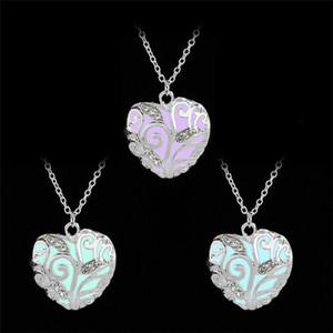 Heart Shaped Pendant Necklace Luminous Pendants in Dark Hollow out Type Heart Glow Pendants Necklace Hot Sale free Epacket