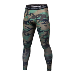 Wholesale Fashion Men Compression Pants Tights Casual Bodybuilding Mans Fitness Trousers Brand Camouflage Army Green Skinny Leggings
