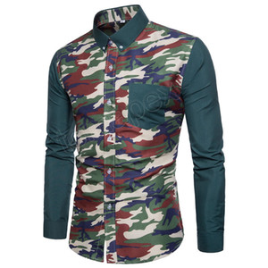 Wholesale Mens Army Camouflage Shirts Autumn Military Shirts Patchwork Camo Print Long Sleeve Shirts Men Casual Clothes Big Size XL