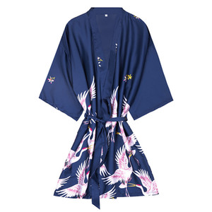 Wholesale mini kimono robe fashion women s summer lady rayon bath gown yukata nightgown sleepwear sleepshirts female pijama mujer