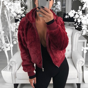 New Faux Fur Women Coat With Hood High Waist Fashion Slim Black Red Pink Faux Fur Jacket Fake Coats