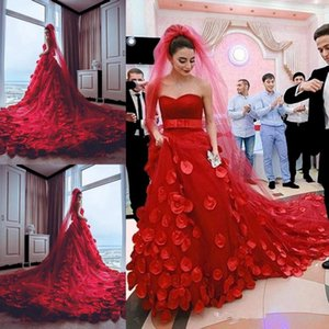 Wholesale tulle rose petals resale online - Modest Red Wedding Dresses Sweetheart Tulle Court Train Rose Petals Decals Applique Bridal Gowns Backless Custom Made Wedding Vestidos