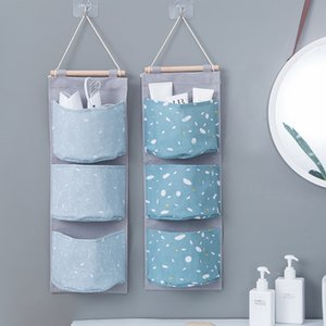 3 Pockets Hanging Storage Bags Laundry Sorting Bag Oxford Cloth Cabinet Closet Hanging Bag Wall Storage Bags SND11 on Sale
