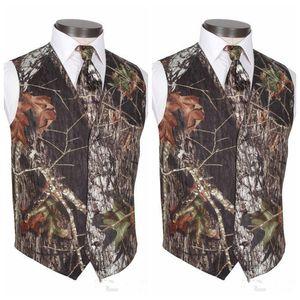 2019 Cheap Custom Made Camo Groom Vests Men's Wedding Outerwear Vest Real Tree Spring Camouflage Groomsmen Slim Fit Men's Vests (Vest+Tie)