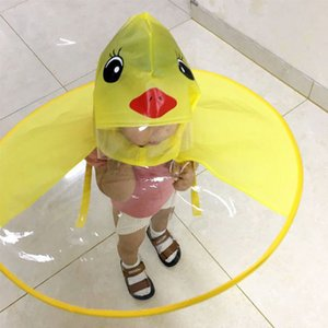 Wholesale Cute Raincoat Cartoon duck Kids Rain Coat Children Umbrella Hat Magical Hands Free Tops Boys And Girls Windproof Poncho Baby