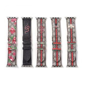 Newest Designer For Apple Smart Watch Leather Straps 42mm 38mm 40mm 44mm Adjustable Strap for iWatch 5 4 3 2 Flower Band Replacement