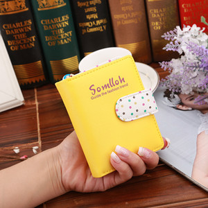 Wholesale Candy Wallets Short Polka Dots Leather Zipper Cards Holder Purse For Girls Women Gift Hot Sale mp UU