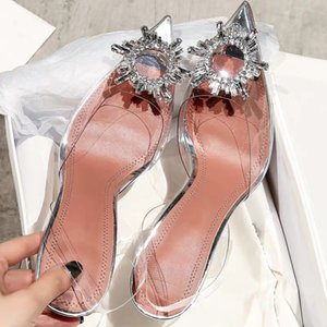 Wholesale Fashion Women PVC Slingbacks Sandals Glittering Embellishments Glass Mules Shoes Crystal Flowers Clear High Heels Slippers