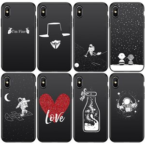 Wholesale team apple for sale - Group buy Fashion Soft TPU Astronaut Heart V shaped enemy killing team Painted Phone Case Coque Fundas For iPhone S s Plus X XS Pro Max Cases