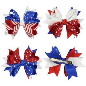 Wholesale Baby girls kids Barrettes hair Accessories big Bow National Independence Day Hairpin Star Spangled Banner children Patriotic hairwear