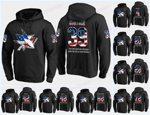 Wholesale Mens San Jose Sharks USA Flag Black Hoodie Jerseys 39 Logan Couture 27 Joonas Donskoi 23 Barclay Goodrow Hockey Hoodies Sweatshirts