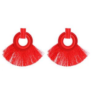 1 Pair Bohemia Tassel Paint Pendants Classic Earrings Fashion Luxury Design Earrings For Women Girls Brillant Cute Metal Red