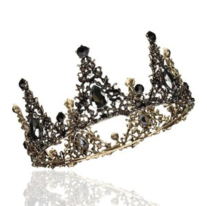 Wholesale Black Rhinestone Baroque Full Round Tiara Crystal Crowns Vintage Queen Pageant Bridal Wedding Hair Jewelry Accessories Prom