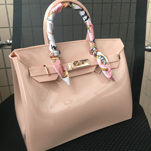 Wholesale JELLYOOY 30cm large size Women Plastic Jelly Handbags Designer Girls Fashion Candy Color Shoulder Bags Waterproof PVC Beach Bags