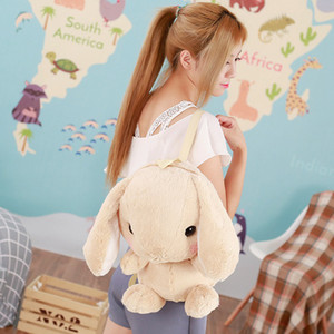 Wholesale Plush Backpack Children Adorable Stuffed Backpack Lop Long Ears Animals schoolbag Children gifts pink beige Shoulder Bag