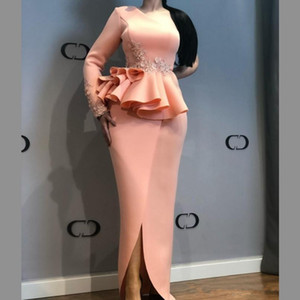 Wholesale African Evening Dresses One Shoulder Lace Appliques Peplum Mermaid Prom Dress Front Split Satin Plus Size Party Gowns Vestidos