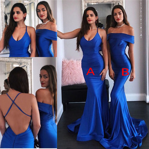 Cheap Royal Blue Evening Dresses Sexy Backless Mermaid Satin Long Bridesmaid Dresses Women Occasion Party Prom Gowns BM1543 on Sale