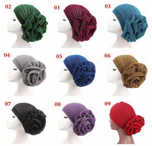 Wholesale big flower Woman turban Muslim Indian hat Bright silk adult caps over colors choose free ship