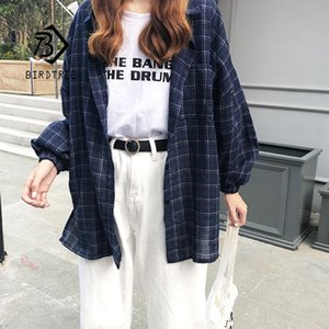 Wholesale 2019 New Woman Vent Vintage Plaid Shirt Single Breasted Turn down Collar Cotton Long Sleeve Button Feminina Sales T8D512Z