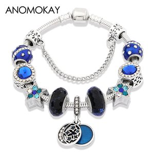 Wholesale European American Trendy Dark Blue Star Moon Charm Bracelet DIY Bead Murano Crystal Bracelet Homme for Men Boy Jewelry Gift