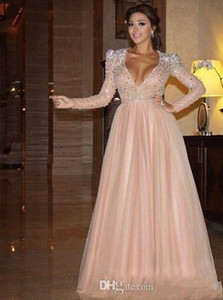 prom dresses PinK A Line Sexy Deep V Neck Long Sleeve Sashes Beaded Crystals Glitter Charming Custom Made Prom Bridal Dresses For Women on Sale