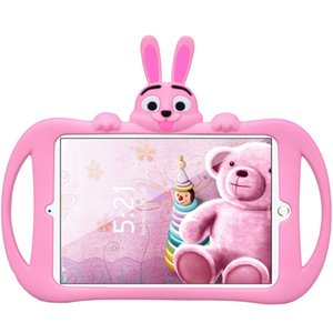 Wholesale Cute Cartoon Silicone Case For ipad with Handles and Bracket girls and boys good lift