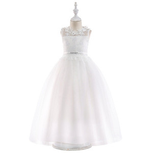 catholic white lace first holy communion dresses jewel sleeveless open back flower girl dress puffy tulle cheap glitz girls pageant dresses on Sale