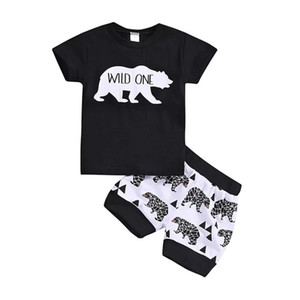 "Wholesale Newest INS Toddler Baby Boys Cartoon Animal Tees Suits Cotton Black ""WILD ONE"" Tshirts Sets Summer Children Clothing Outfits for 0-4T"