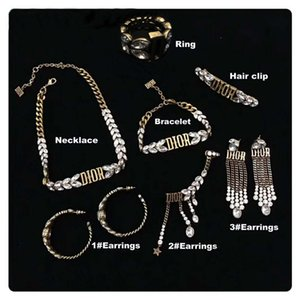 Wholesale 2019 High quality luxury designer jewelry set vintage brass earrings for women fashion jewelry set gift