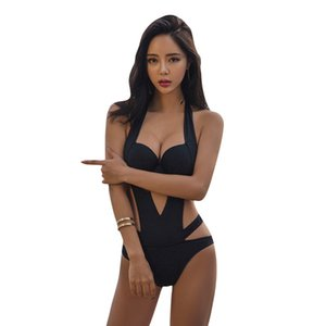 Wholesale 2019 bikini sexy one piece swimsuit female black thin steel plate gathered fashion hollow backless swimsuit