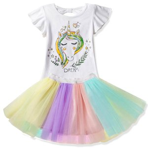 Wholesale Designer Girl Clothes Set Unicorn Print Kids Tshirts + Rainbow Tutu Skirts 2019 New Summer Children Clothing Sets