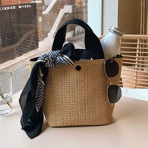 Vintage garden beach holiday weaving hand-woven straw bag solid color large capacity hand-woven straw bag