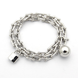 Wholesale 2019 Fashion Silver plated U Charms T ball Lock Bracelets Bangles for Women Stainless Steel love Bracelets Pulseira fine Jewelry