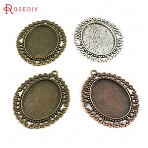 Wholesale 6PCS Inside x30MM Antique Bronze Zinc Alloy Oval Base Trays Bezels Cabochon Beads Settings Cameo Settings Pendants Findings