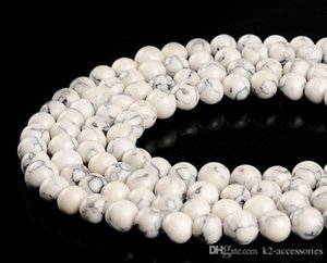 Wholesale white beads for sale for sale - Group buy 4MM MM MM MM White Turquoise Round Stone Beads For Bracelet Necklace DIY Jewelry Making sale
