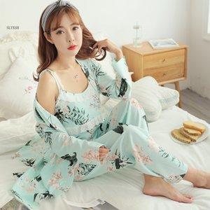 Wholesale 3 Set Cartoon Print Cotton Maternity Nursing Nightwear Breastfeeding Pajamas for Pregnant Women Pregnancy Sleepwear