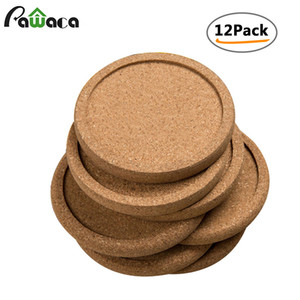 Wholesale 12pcs Plain Round Cork Coasters Set Coffee Cup Mat Drink Tea Pad Placemats Wine Table Mats Decor Kitchen Accessories T8190629