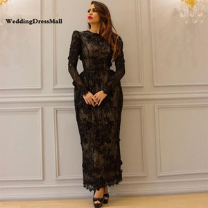 Long Sleeve Black Abendkleider Elegant Lace Arabic Evening Dress 2019 Dubai Formal Kaftan Lebanon Lange Jurk on Sale